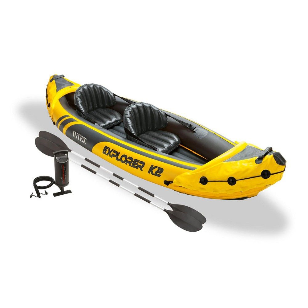 Intex Explorer K2 Yellow 2 Person Inflatable Kayak With