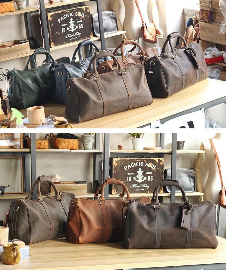 41886c95d Vintage Leather Mens Large Weekender Bags Cool Travel Bag Duffle Bag ...