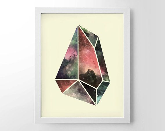 Geometric Crystal Universe Home Decor Wall Art by StayGoldMedia