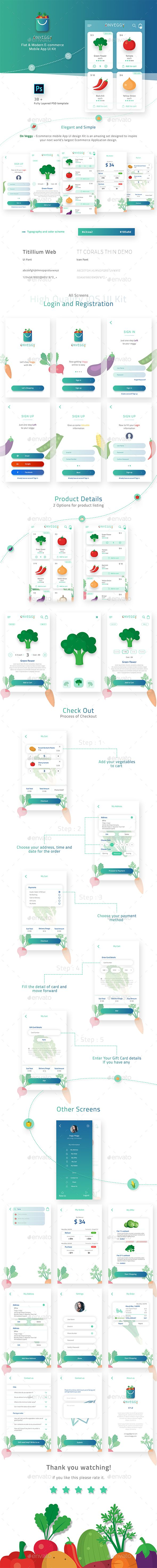 On Veggy  E commerce App UI Kit — Photoshop PSD #store #flat • Download ➝ https://graphicriver.net/item/on-veggy-e-commerce-app-ui-kit/19849220?ref=pxcr