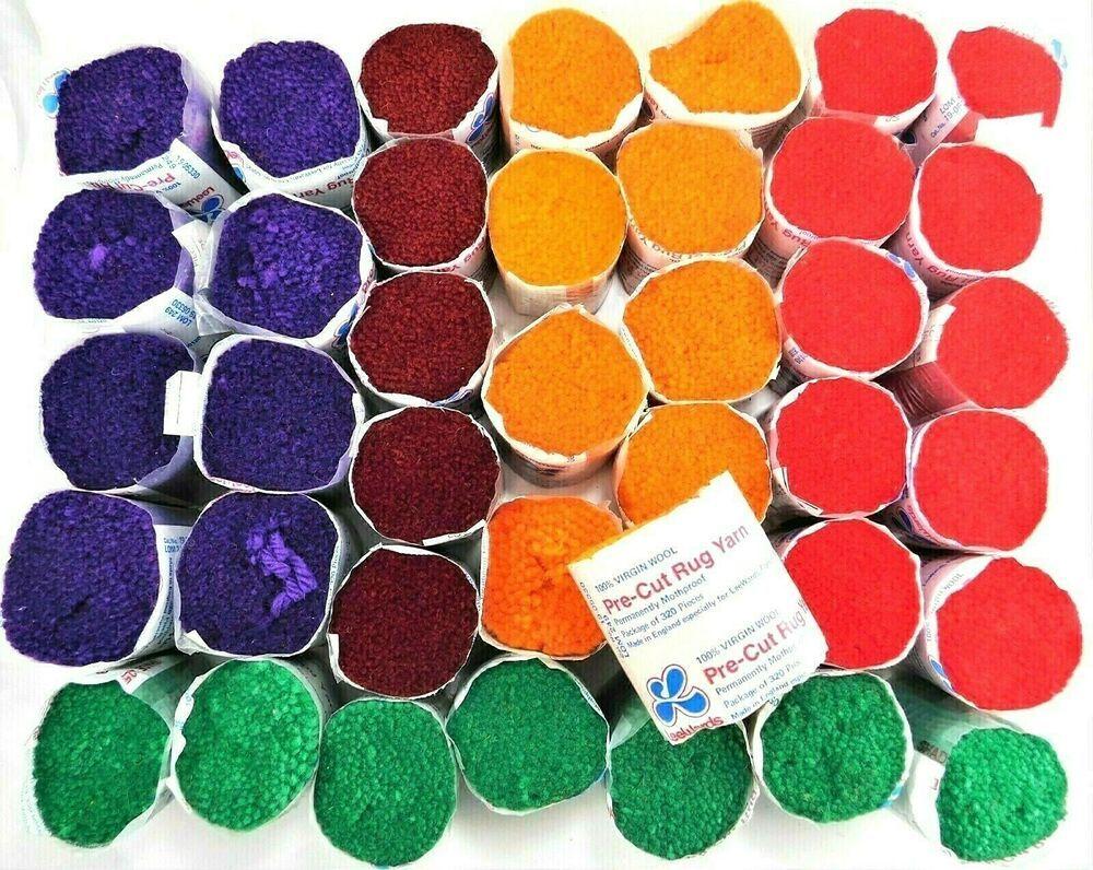 Lee Wards Vintage Precut Latch Hook Rug Yarn 40 Skeins 100 Wool Assorted Colors Leewards Vintage Precut Latchhook Ru Rug Yarn Rug Hooking Latch Hook Rugs