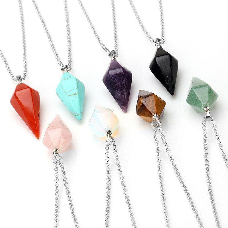 Natural Clear rock cristal de quartz pendule Collier Pendentif Chakra Guérison Gems