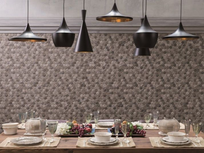 Porcelanosa forest slate stone look hexagon tile available at
