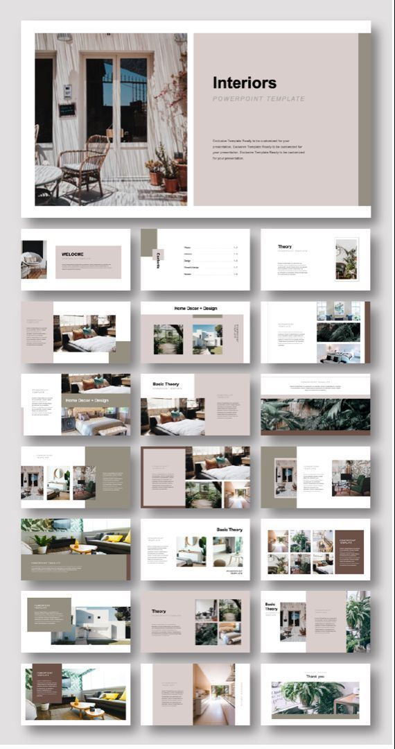 Creative Interiors Design Presentation Template #powerpoint #presentation #fashi