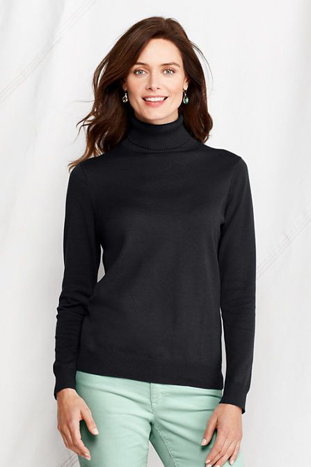 a38d63f007 Women s Fine Gauge Supima Turtleneck Sweater from Lands  End