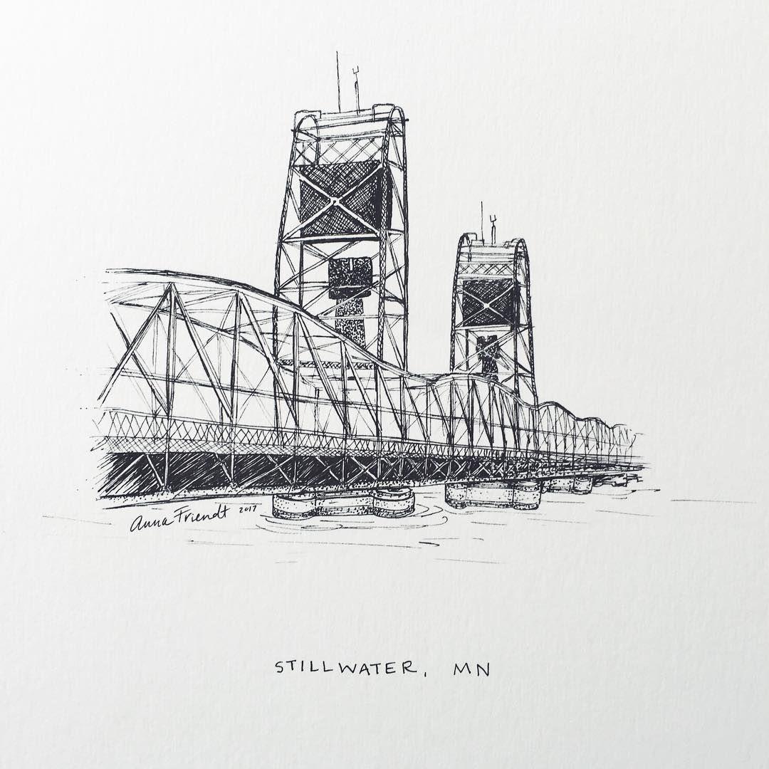 Stillwater Mn Lift Bridge Black And White Illustration Ink