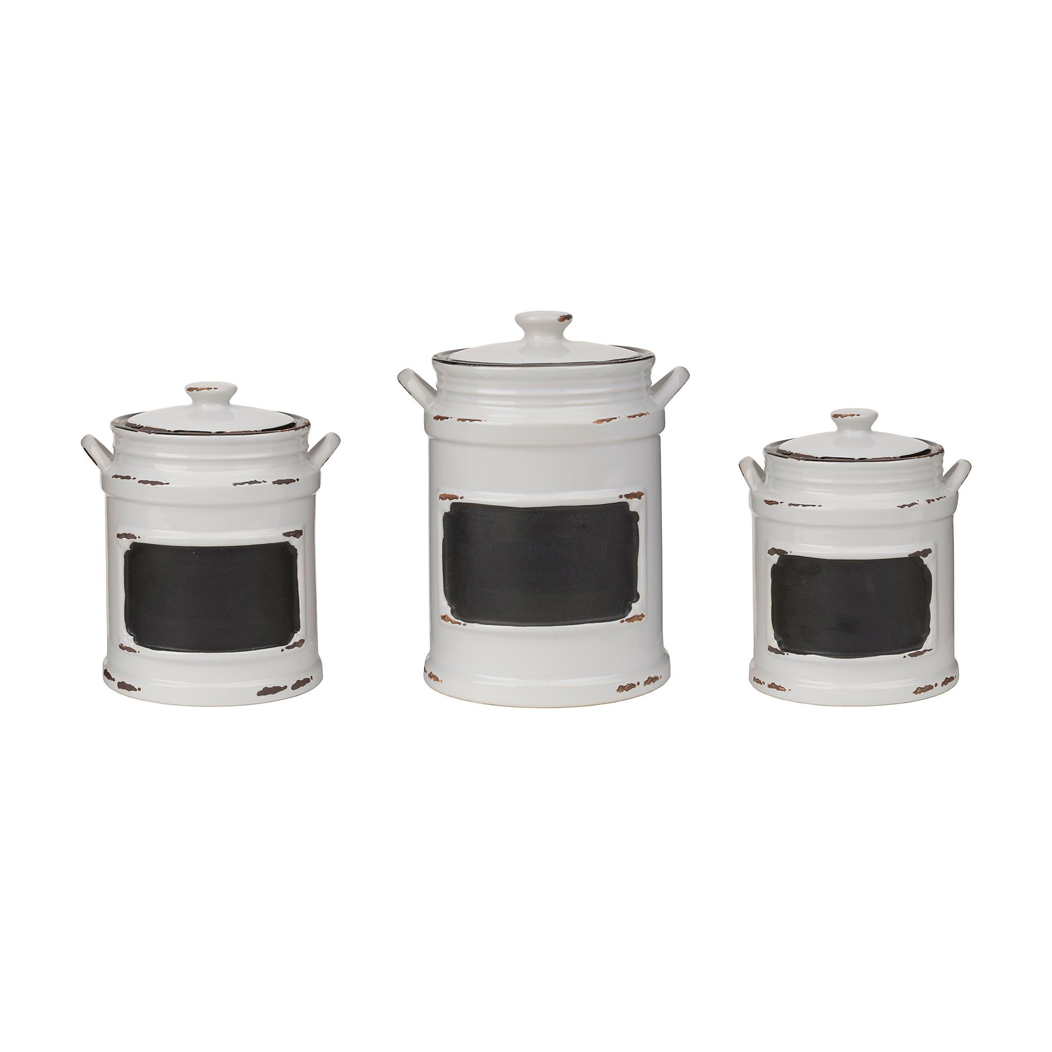 Product Details Vintage White Chalkboard Canisters, Set of 3 ...