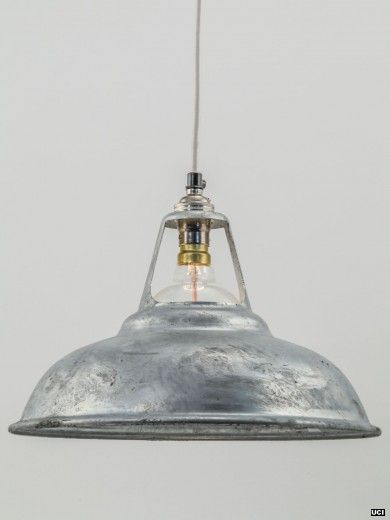 Galvanised shade pendant light
