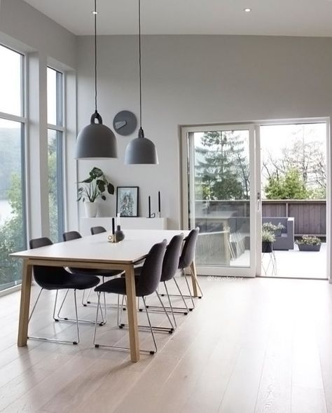 32 More Stunning Scandinavian Dining Rooms: Dining Room By @navelsaker. Normann Copenhagen Bell Lamp