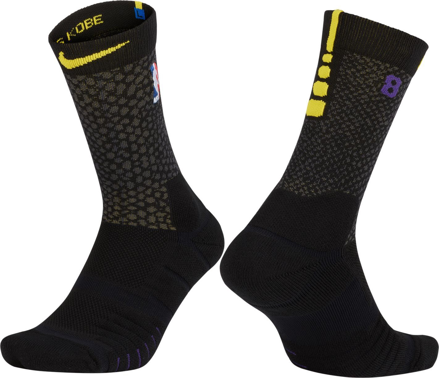 Nike Los Angeles Lakers City Edition Elite Quick NBA Crew Socks, Black c995c5c6ca0d