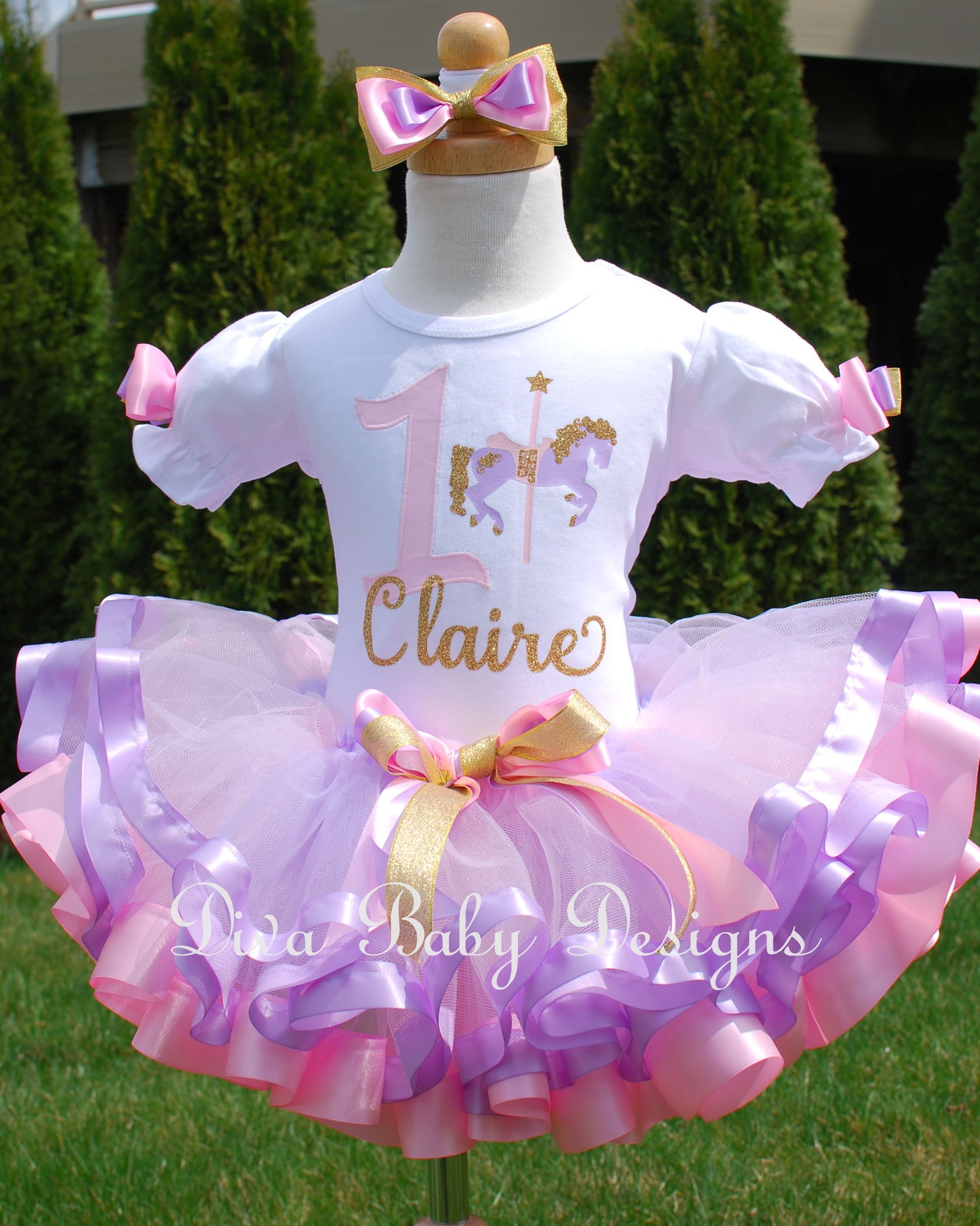 e54fccf804c9 Pink/Lavender Carousel Horse Birthday Tutu Outfit in 2019 | Birthday ...