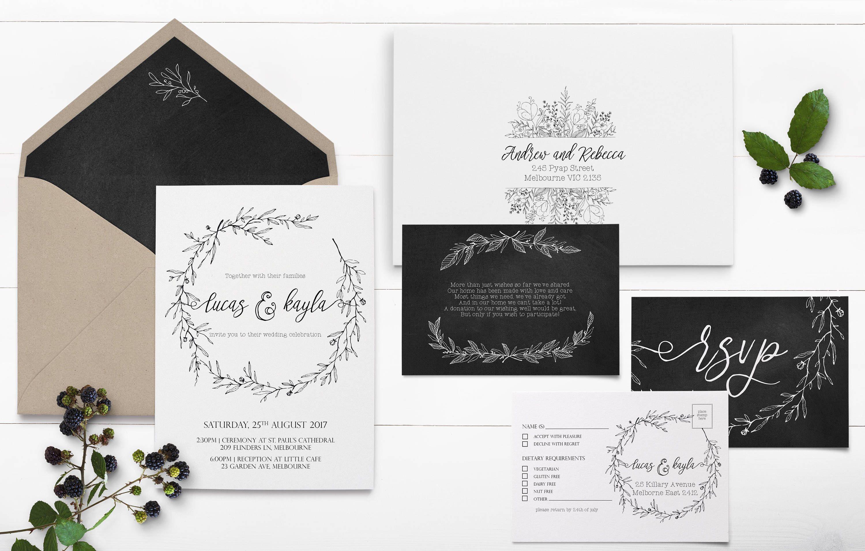 Leaf Wreath Wedding Invitation Set - Black and White - Chalkboard ...