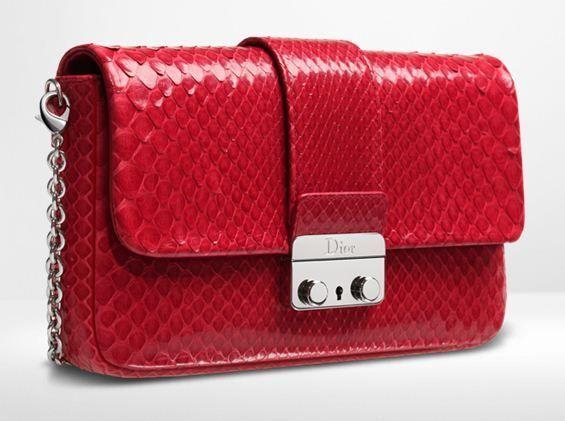 Dior Red Python New Lock Pochette