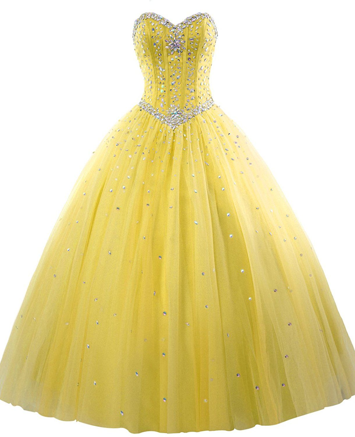 95b9fa982a1 Amazon.com  Erosebridal Long Prom Dress Tulle Sweetheart Beaded Quinceanera  Dress US 6 Yellow  Clothing