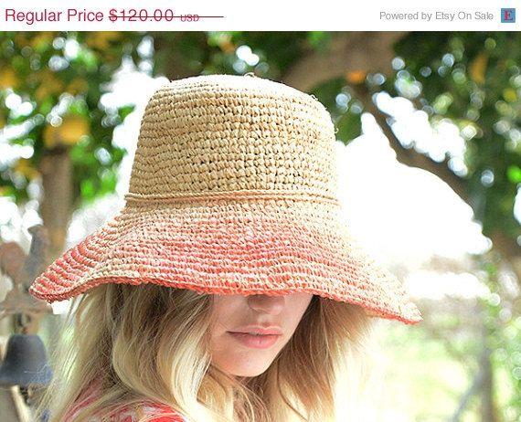 Hand crocheted raffia hat with turn up brim , Summer hats women ...