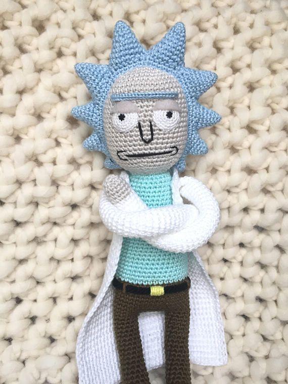 Handmade Crochet Rick Sanchez Softie - Rick and Morty Amigurumi Soft ...