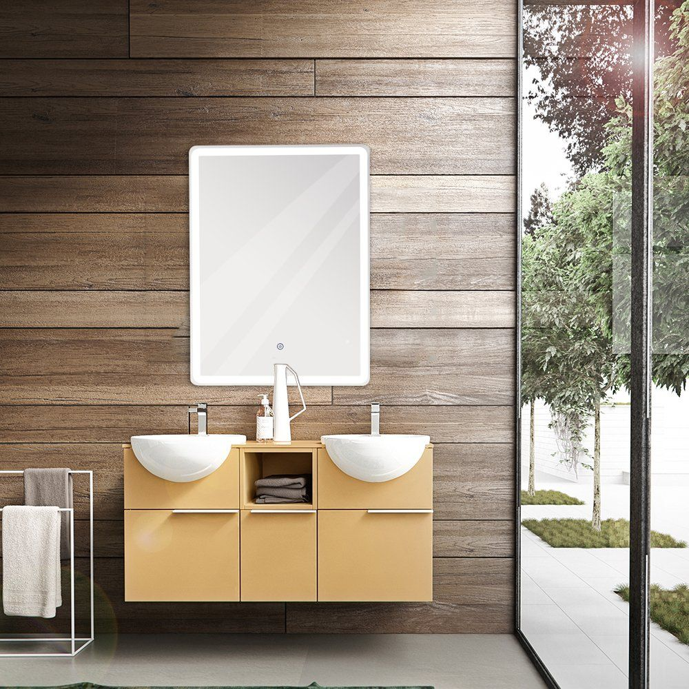 Gurun Vertical Led Wall Mounted Lighted Bathroom Mirror With Touch