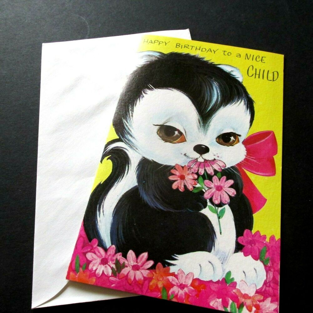 Vtg Birthday Card Big Eyed Skunk W Pink Flowers Nice Child W
