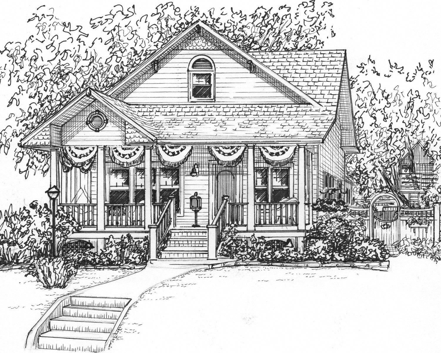 Landscape Gardening Ideas For Small Gardens House Drawing Custom House Portrait House Portraits
