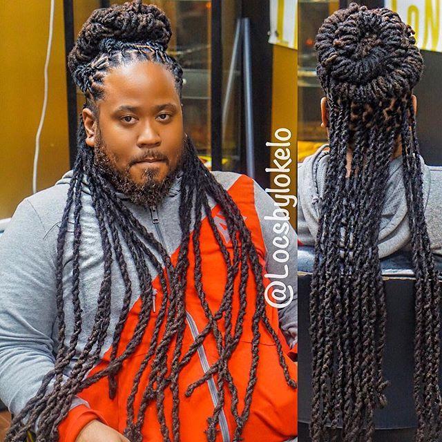 Instagram Photo By Locsbylokelo Men S Loc Maintenance Style Lobster Barrels 2 Strand Twist Twis Hair Styles Dread Hairstyles For Men Dreads Styles