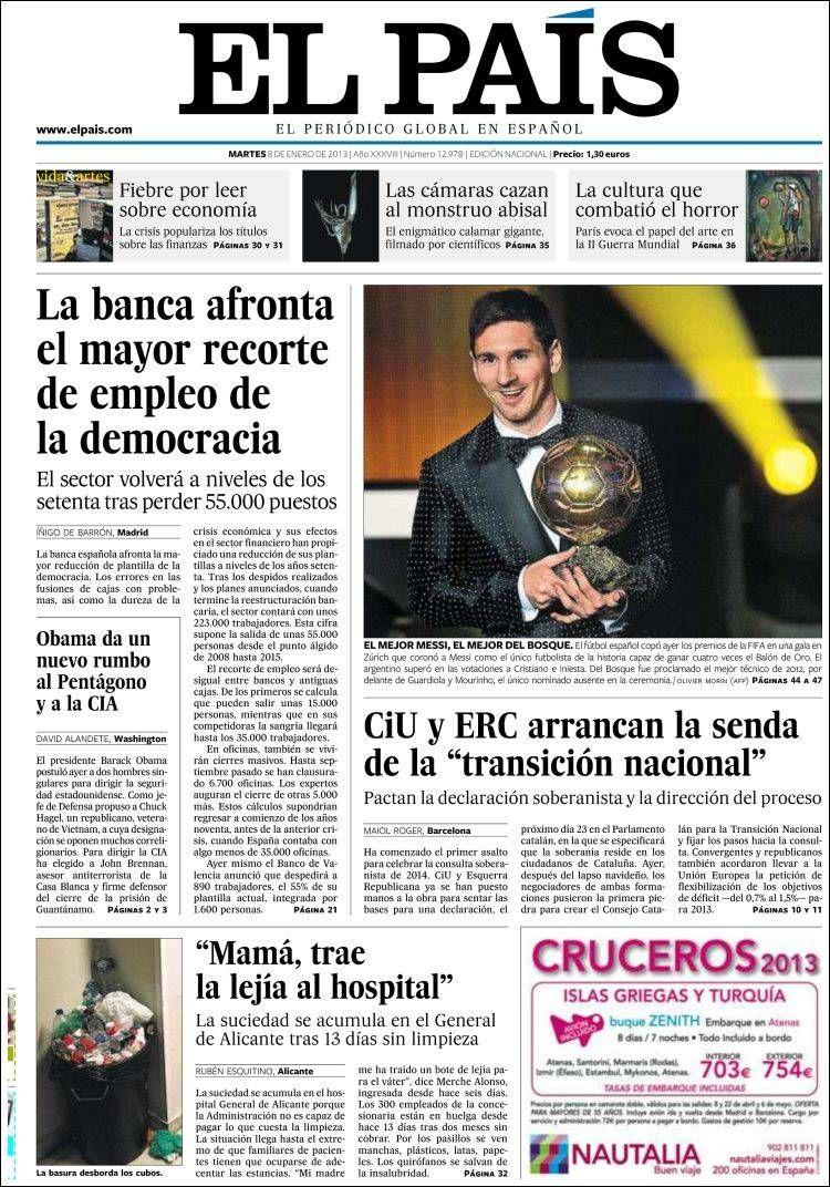 Titulares y Portada del 8 de Enero de 2013 del Periodico.