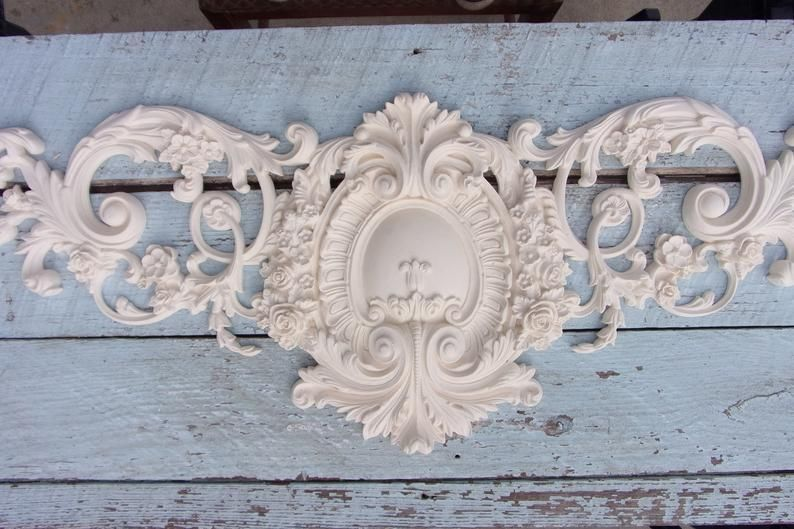 Shabby Chic Furniture Appliques Huge Rose Crest 54 Inches Long Etsy In 2020 Shabby Chic Furniture Shabby Chic Mouldings Furniture Appliques