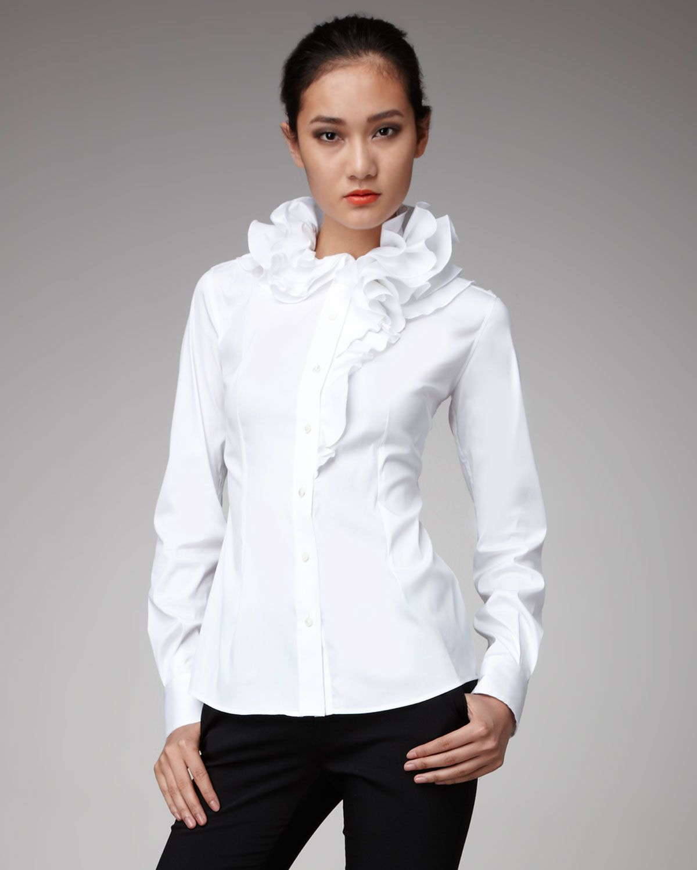 designer White Blouses with Ruffles | Dolce & Gabbana Ruffle-collar Blouse…