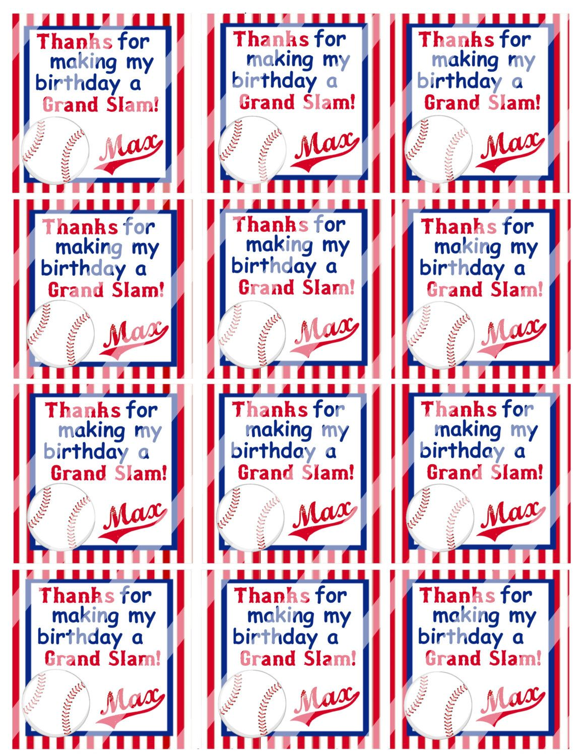 DIY Personalized Baseball Birthday Favor Hang Tags Party Goody Gift Bags Printable Download Decoration Sports Boys Red Blue by susanefird on Etsy https://www.etsy.com/listing/187192145/diy-personalized-baseball-birthday-favor
