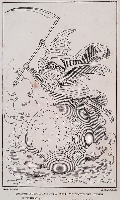 Gabriel Peignot. Recherces Historiques et Littéraires sur les Danses des Morts. n.c. : n.p., 1826, Plate faceplate. Couturier, del.; Lith. de F. Noël. death in robe with scythe raised high, hovering over worldly globe