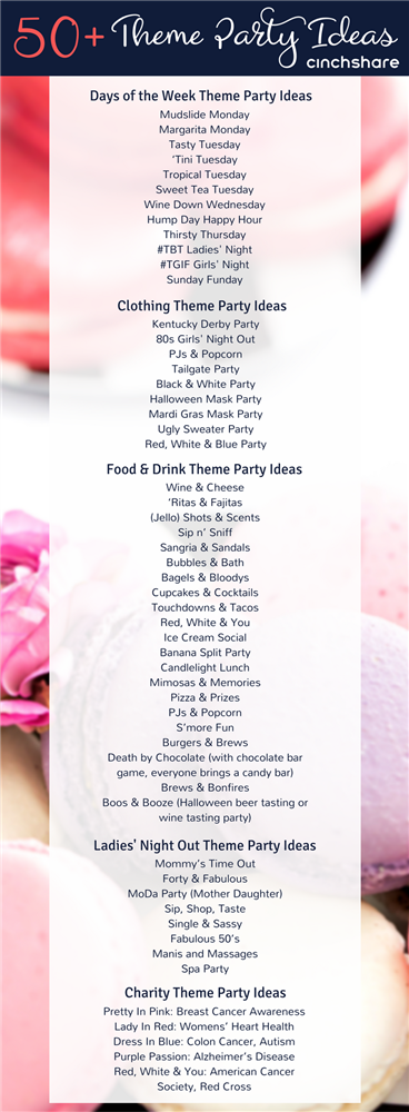 Here S A List Of 50 Fantastic Theme Party Ideas For Your Direct Sales Biz Be Sure To Share With Your Teams Party Themes Pure Romance Party Party Planning