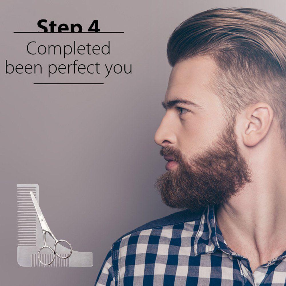 Beard grooming shaping comb with beard straight blade edge