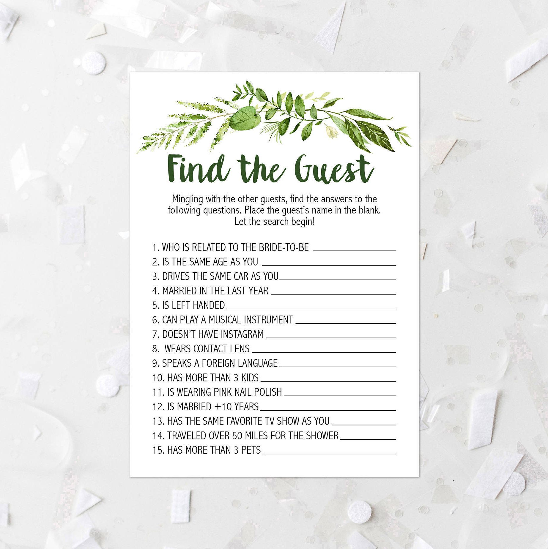 spring foliage find the guest shower game printable greenery bridal shower guessing game leafy bridal shower