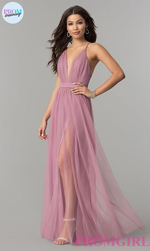Low-V-Neck Long A-Line Mauve Pink Tulle Prom Dress | Maya Prom 2018 ...