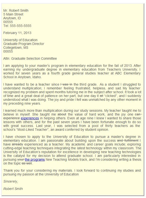 Graduate School Admissions Letter of Intent | College Life ...