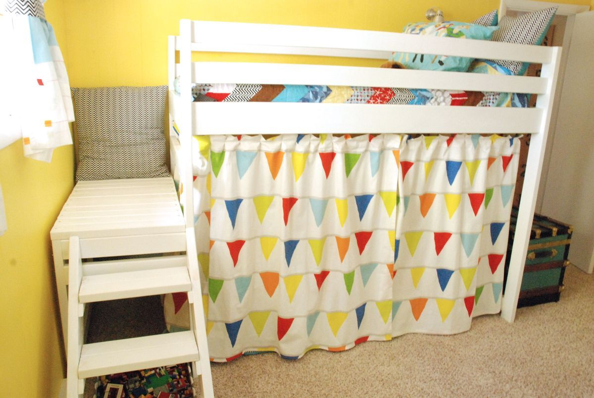 DIY Jr. Camp Loft Bed with Curtain Ana White in 2020