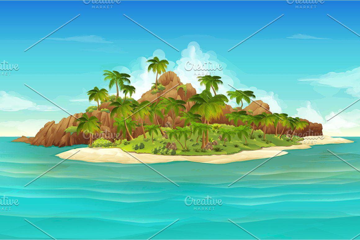 Tropical Island Beach Vector Tropical Illustration Tropical Islands Vector Background