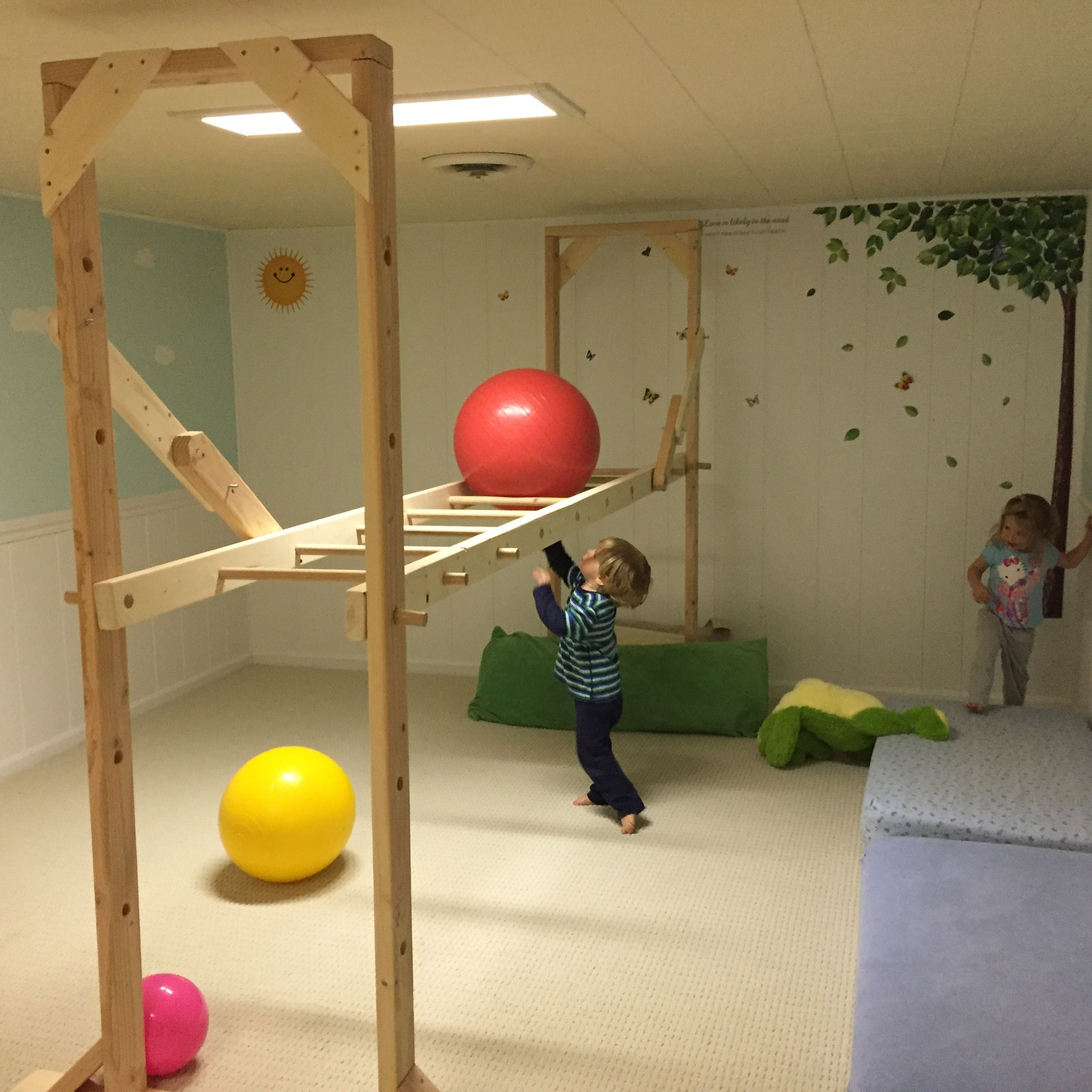 DIY basement monkey bars just in time