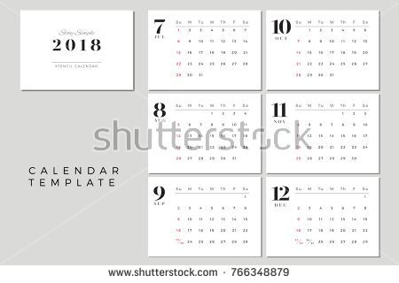 2018 Vector Calendar Template July to December, 2018 Simple - yearly calendar template