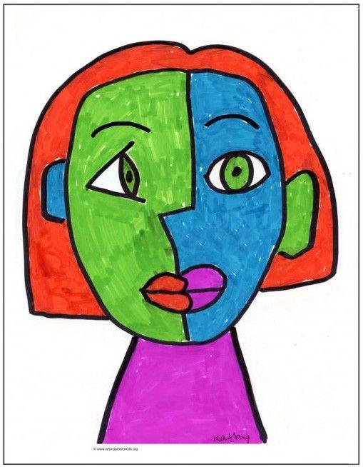 Draw A Cubism Portrait Art Projects For Kids Picasso Art Kids Art Projects Elementary Art Projects