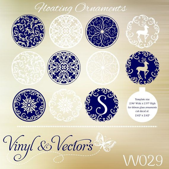floating christmas ornaments svg vector cutting file vinyl decals