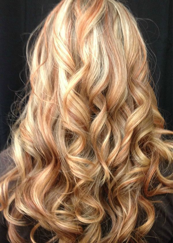 Long Hair Cut And Style With Blonde Highlights And Red