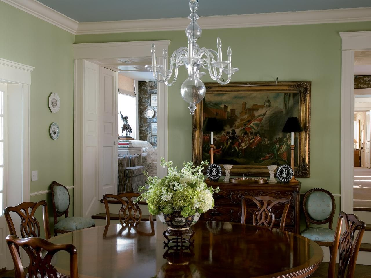 Beautiful Traditional Dining Room Decor With Clear Glass Chandelier Green Walls And Blue Ceiling