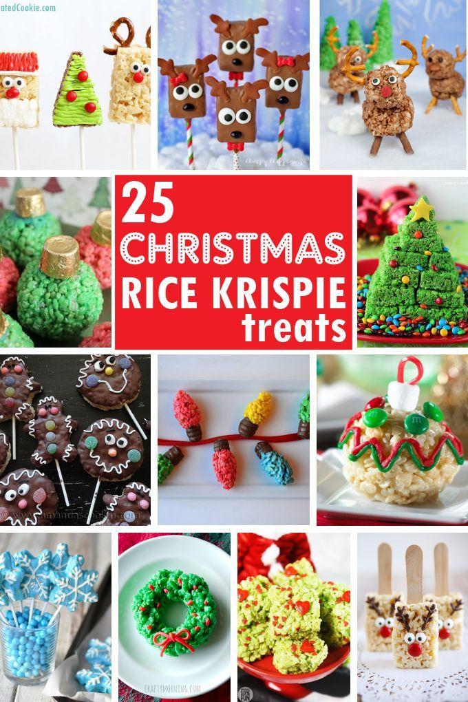 25 Christmas Rice Krispie Treats -- Cute fun holiday treats #holidaytreats