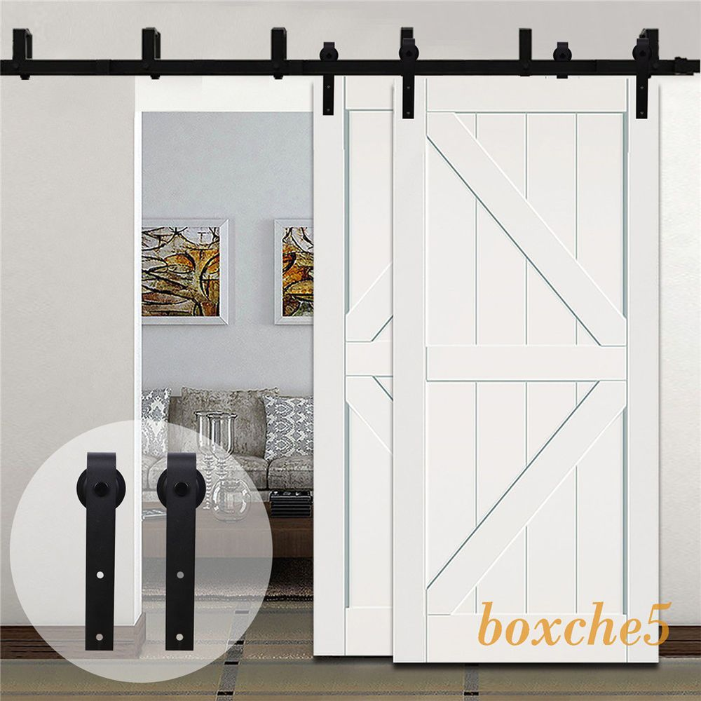 4ft 20ft Country Bypass Double Wood Sliding Barn Door Hardware Closet Track Kit Bypass Barn Door Wood Doors Interior Sliding Barn Door Hardware