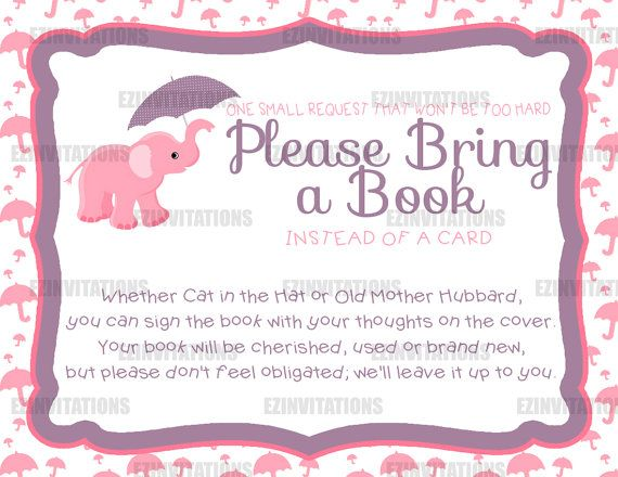 Exceptional Pink And Purple Elephant Umbrella Baby Shower Book Request Cards    PRINTABLE!