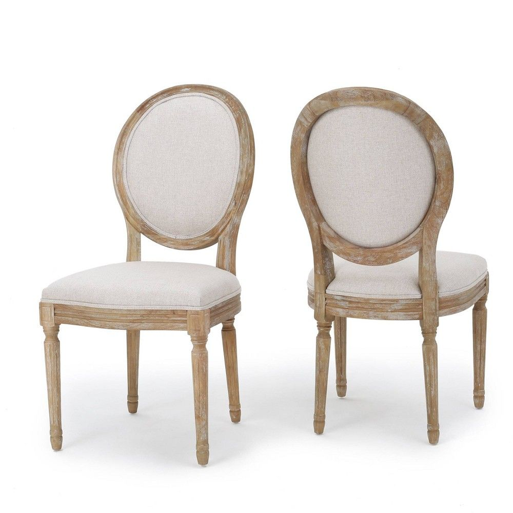 Set Of 2 Phinnaeus Dining Chair Beige Christopher Knight Home Fabric Dining Chairs Dining Chairs Side Chairs