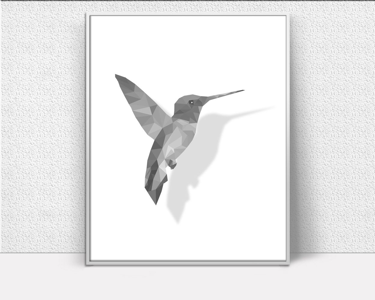 Hummingbird Art, Low Poly Prints, Drop Shadow Art, Inspirational Wall Art, office gift, Art Printables, Creative Home Decor #wallart #posters #inspirational