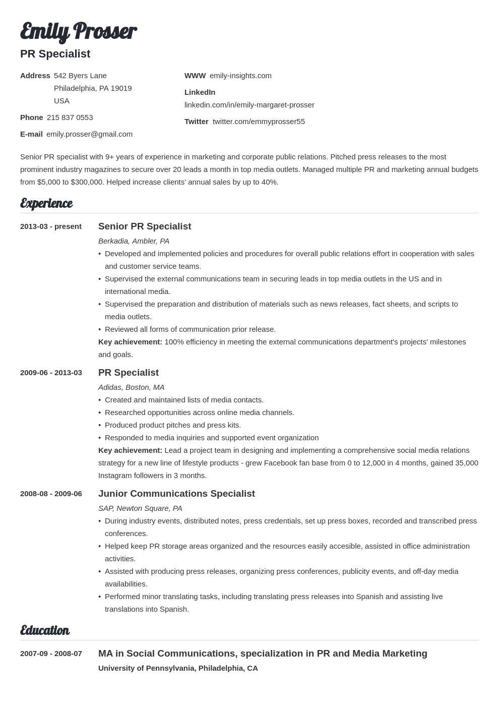 Public Relations Resume Example Template Valera Cv Examples Writing A Cv Public Relations