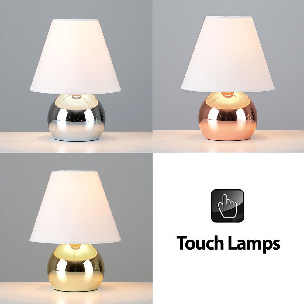 Modern Touch Dimmer Bedside Lounge Table Lights Lamps In Chrome