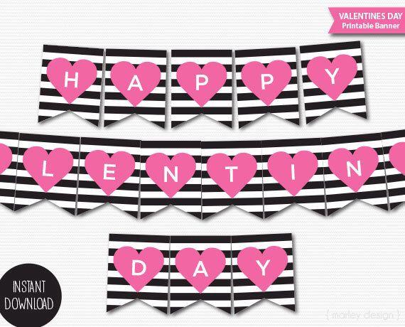 Happy Valentines Day Banner Printable Banner Valentines Decoration ...